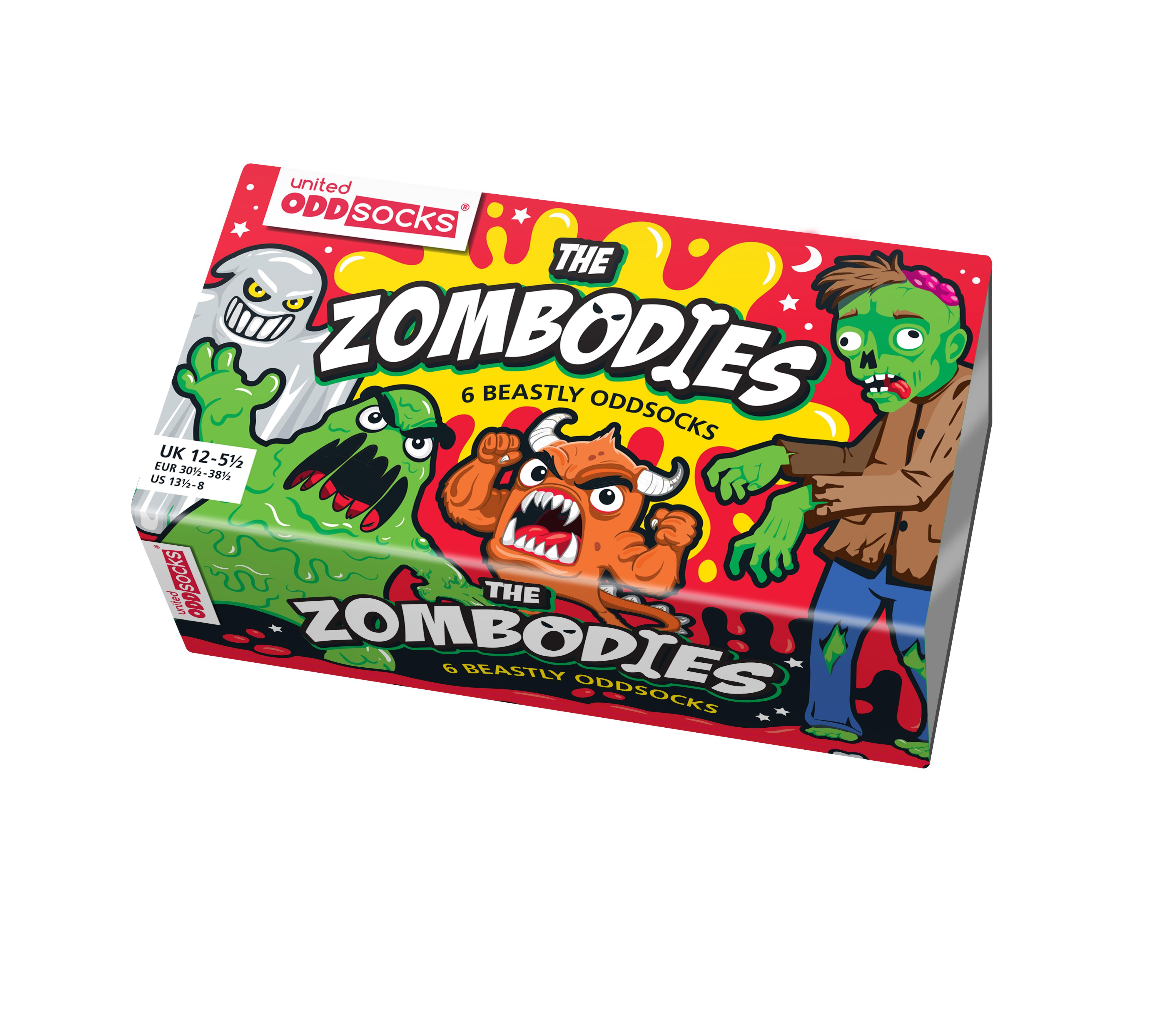 Zombodies UK 12-5.5 EUR 30.5-38.5 US 13.5-8 United Oddsocks Box of 6 Oddsocks For Boys